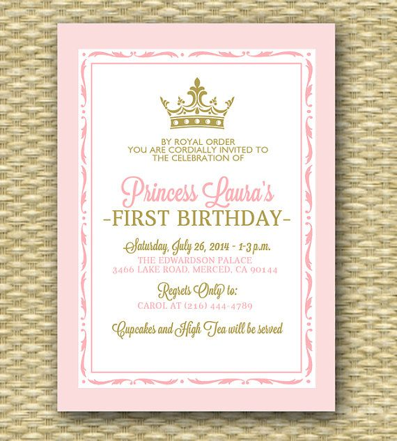 Pink and Gold Princess First Birthday Invitation Royal Baby Girl – First Birthday Printable Invitations