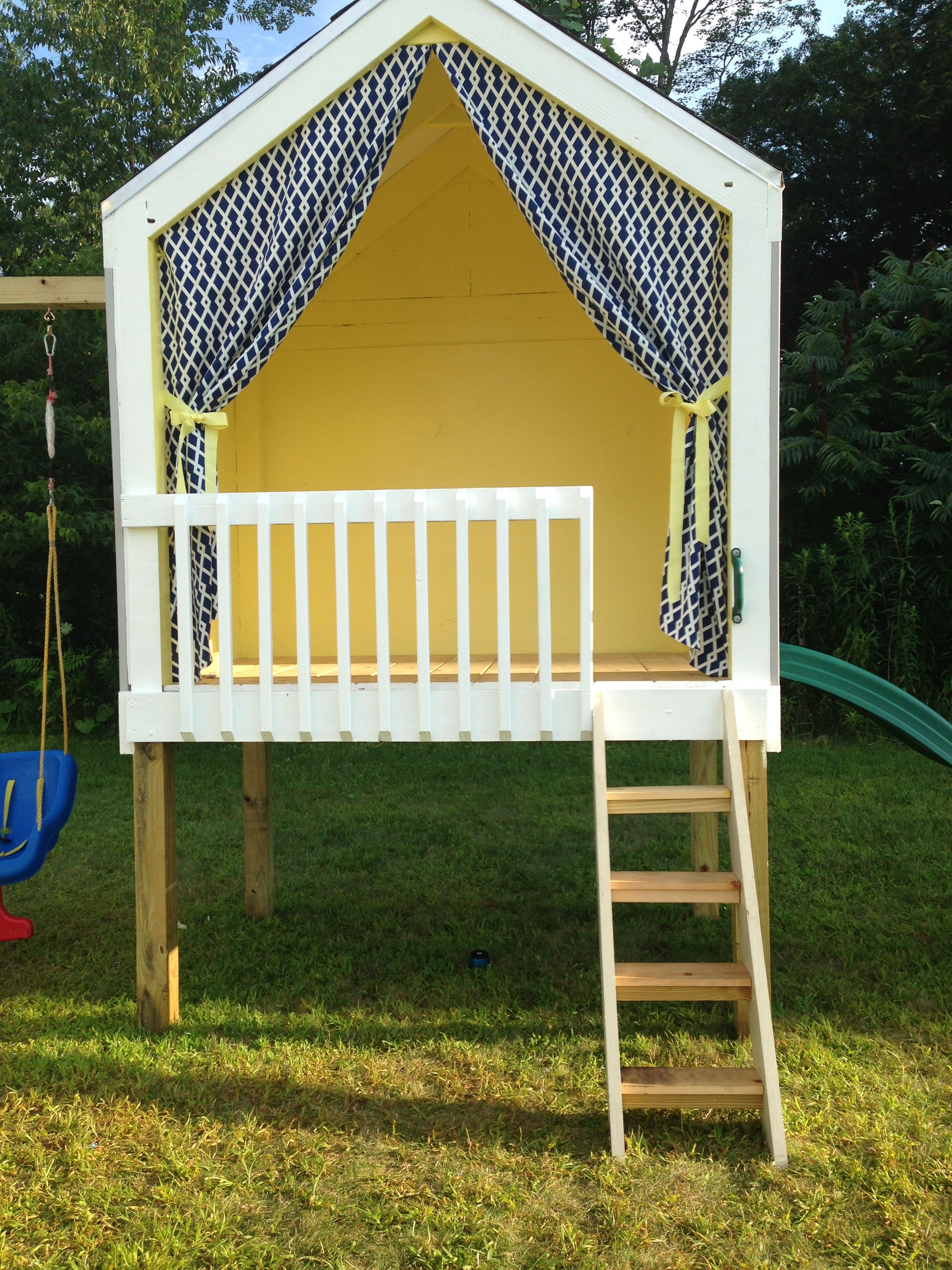 Playhouse and swing set built by my husband playhouse for Diy kids outdoor playhouse
