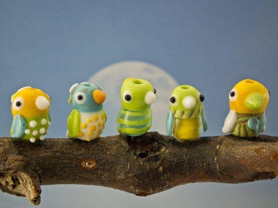 Lampwork set of 5 bird beads sra by DeniseAnnette on Etsy, $35.00
