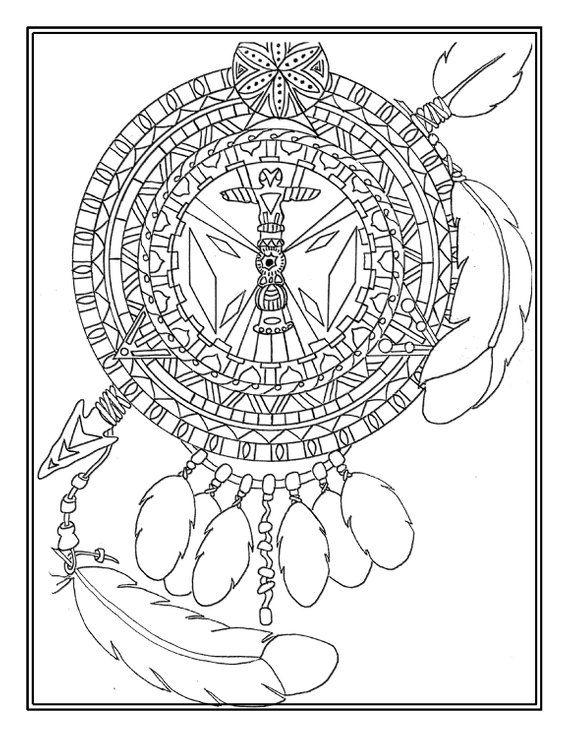 Printable digital download, Native American mandala, Adult