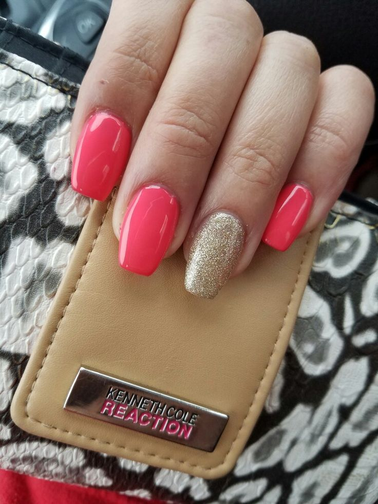 Pink And Gold Short Coffin Nails Coffinnails
