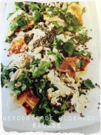 geroosterde bloemkool salade met puy linzen en tahina dressing