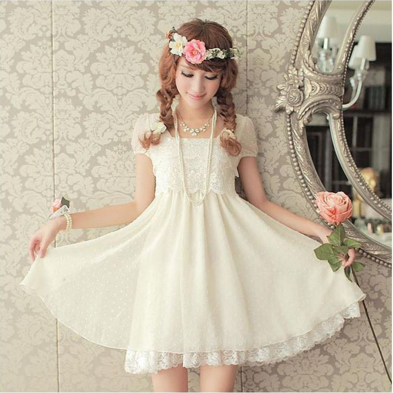 cute white dress with lace, sweet looking, japanese fashion ...