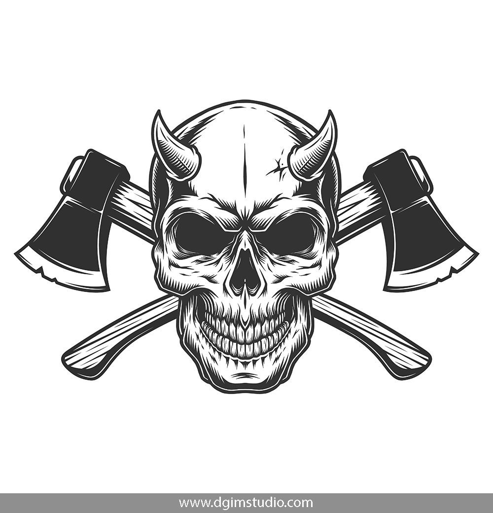 Demons Emblems Collection Skull With Horns Skull Unique Poster