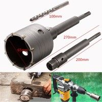 Sds Plus Shank Concrete Cement Stone 65mm Wall Hole Saw Drill Bit 200mm Rod With Wrench New Geek Concrete Cement Hole Saw Drill Bits