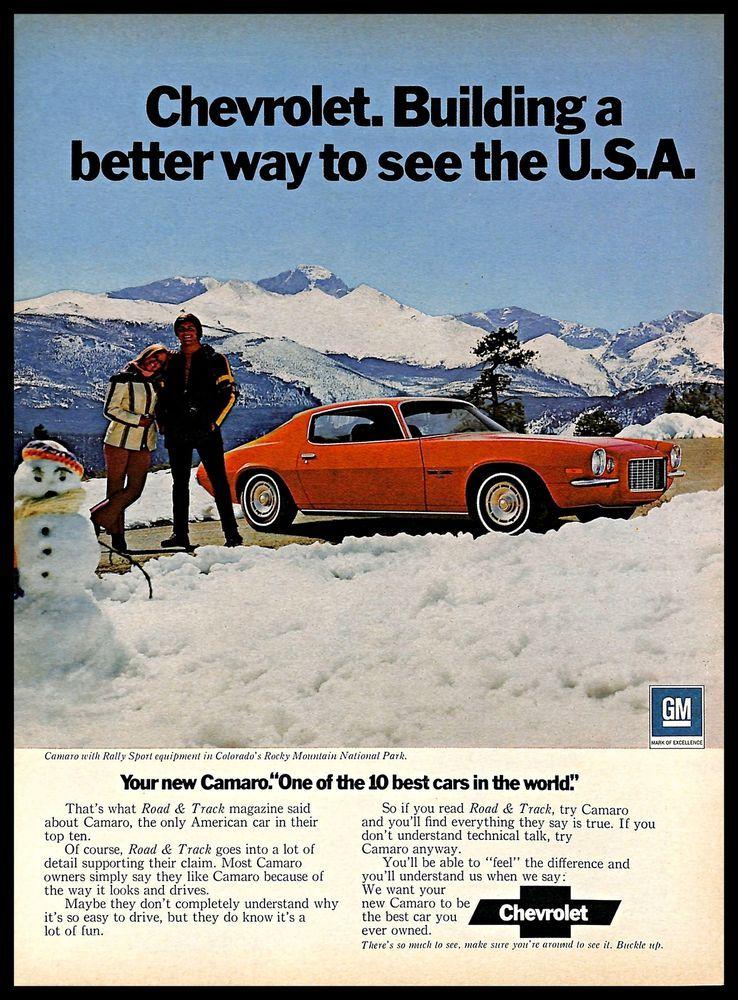 Details about 1972 Chevrolet Camaro Vintage PRINT AD