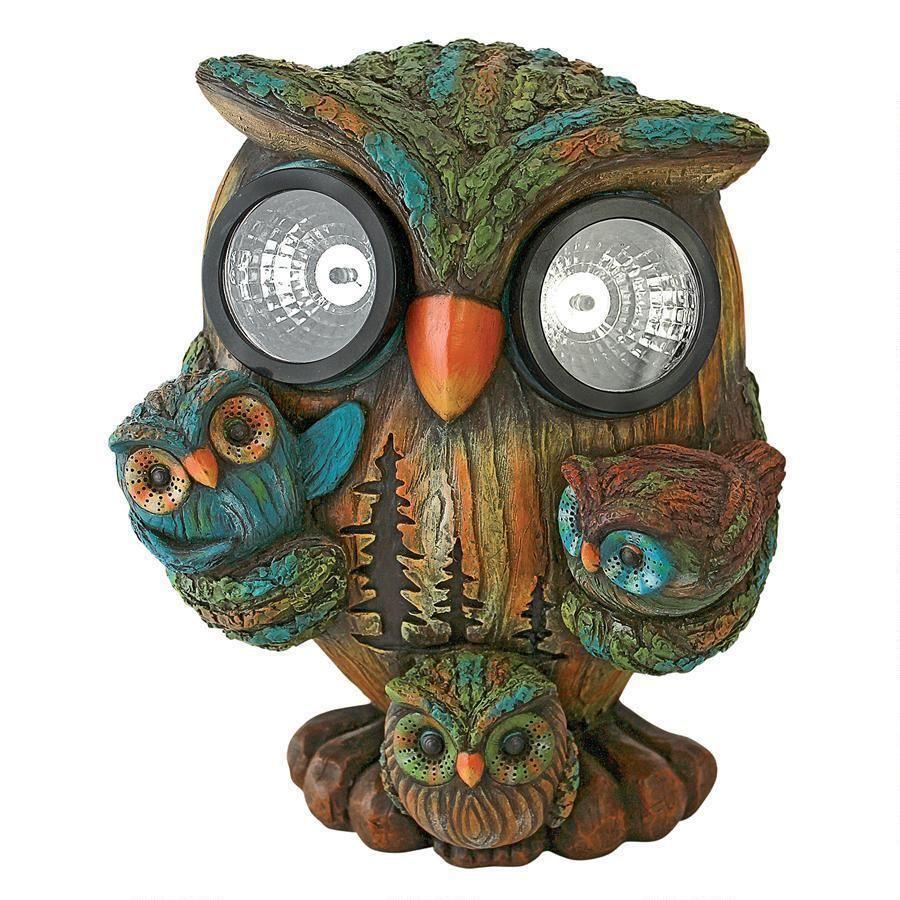 Bright Eyes Solar Owl Family Garden Statue | Bright eyes, Owl family ...