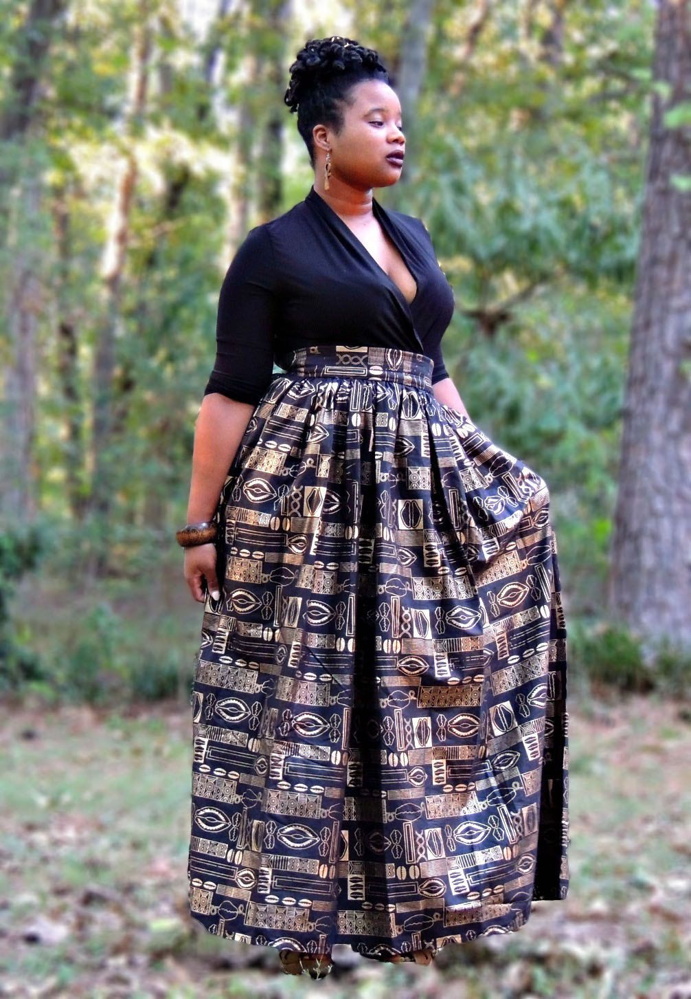 f6bea2573264 Black and Gold African Print Maxi Skirt by SewSophistikated on Etsy ...