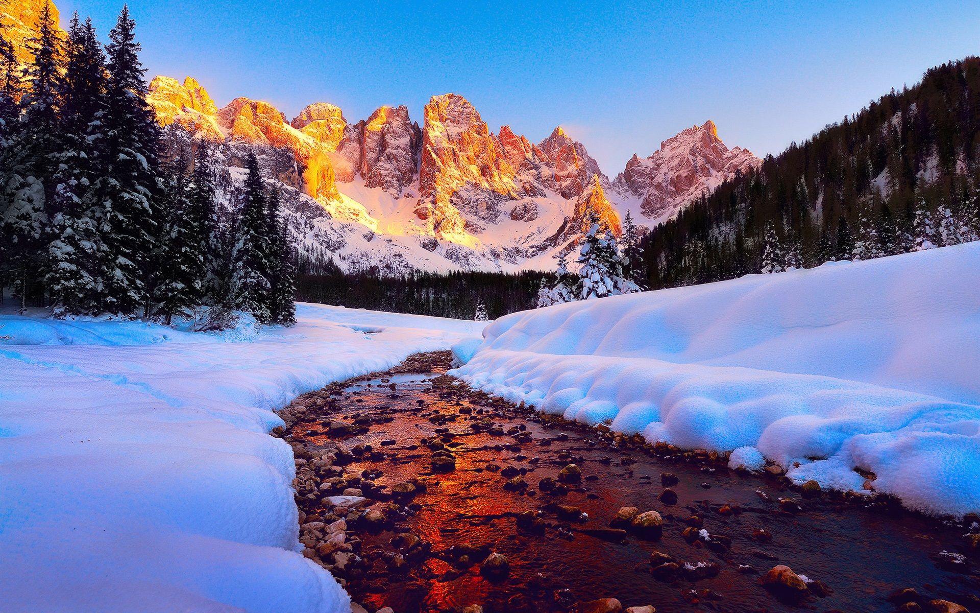 Fondo Escritorio Picos Montañas Nevadas: Dolomitas, Las Montañas, Picos, Bosque, Río, Nieve