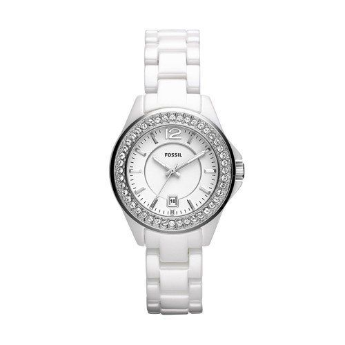 Fossil Riley Mini Ceramic Watch - White Fossil. $225.00. Mineral Crystal. 30mm Case Diameter. Quartz Movement. 50 Meters / 165 Feet / 5 ATM Water Resistant