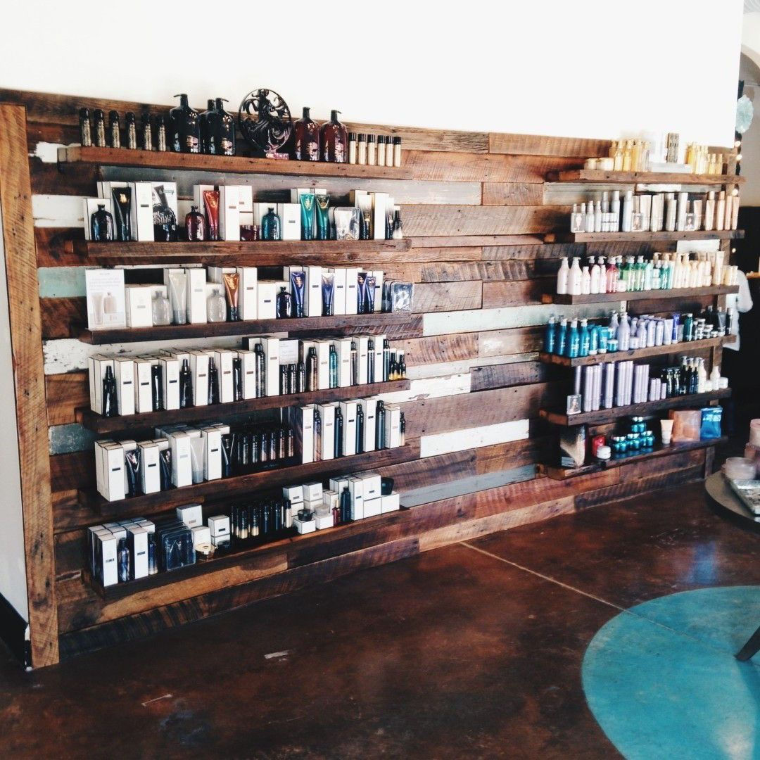 City Salon and Spa Makeover - Athens GA | Wood walls, Shelves and Salons