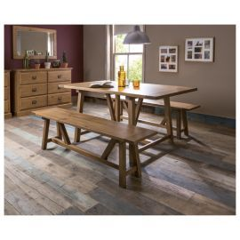 Buy Portobello 6 Seat Trestle Dining Table Rustic Pine From Our Tables Range At Tesco Direct We Stock A Great Of Products Everyday Prices