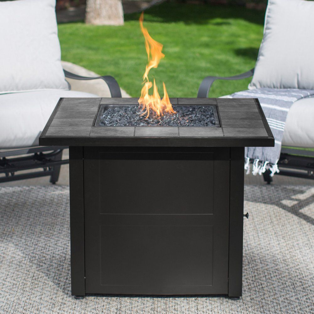 Uniflame ceramic tile propane fire pit slate gather friends and