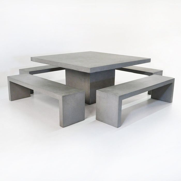 This 63 Square Concrete Table From Teak Warehouse Made From Raw