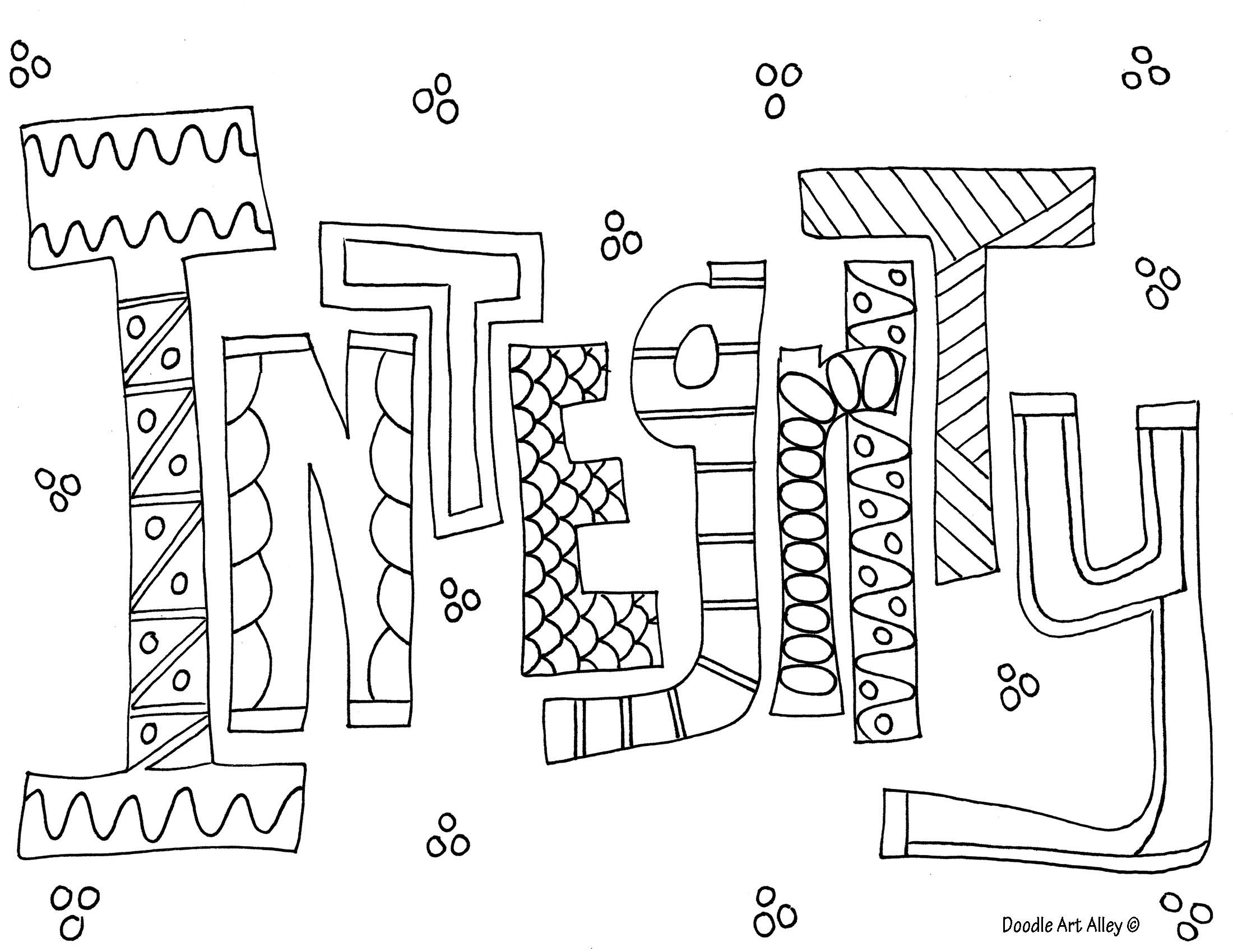 Integrity Coloring Page