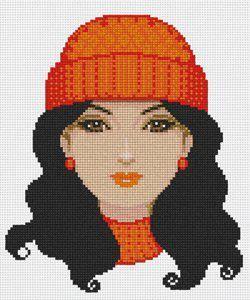 0 point de croix femme au bonnet orange - cross stitch lady with orange woolen hat