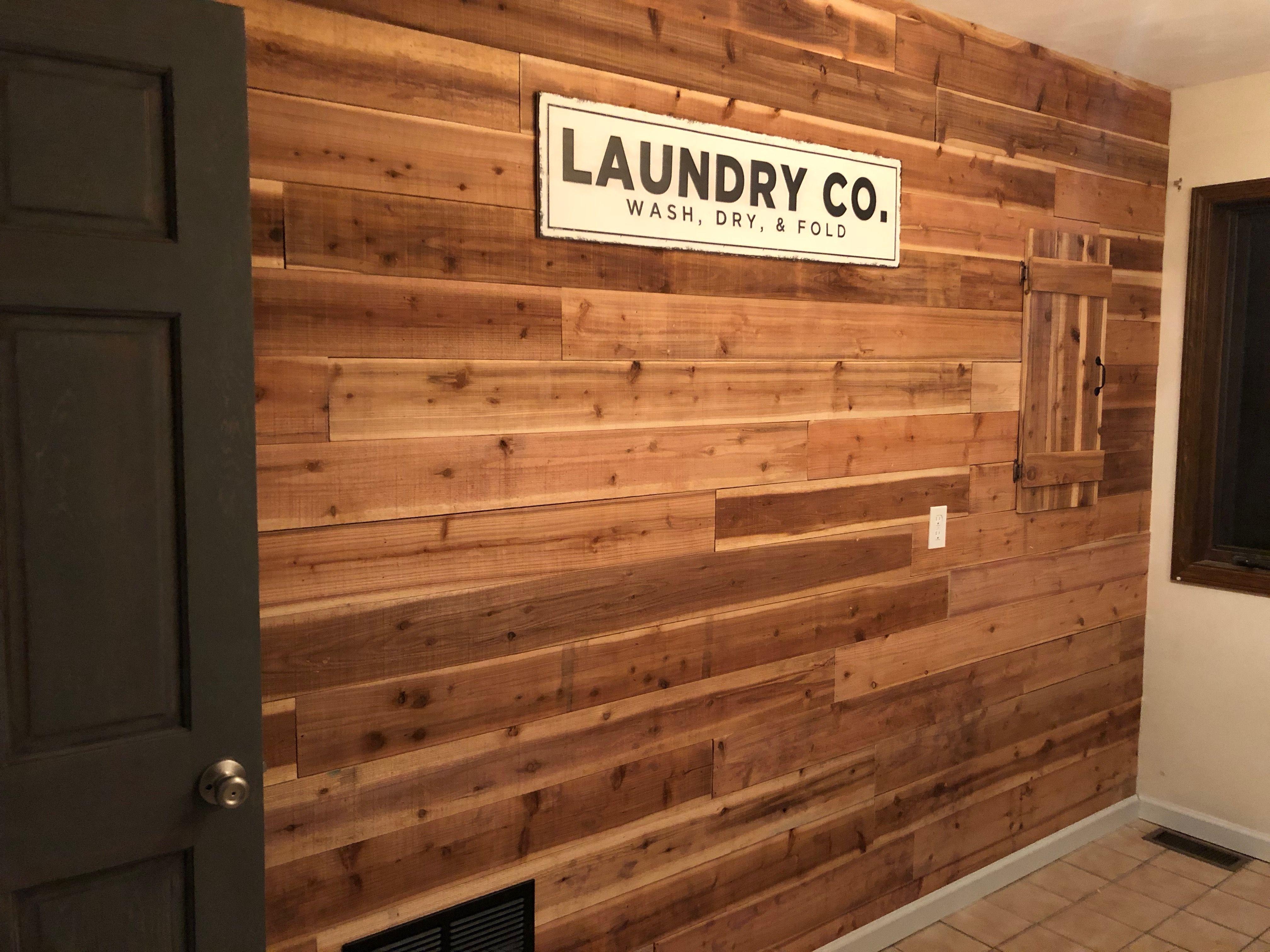 Cedar Ship Lap Laundry Accent Wall Cedar Walls Ship Lap Walls