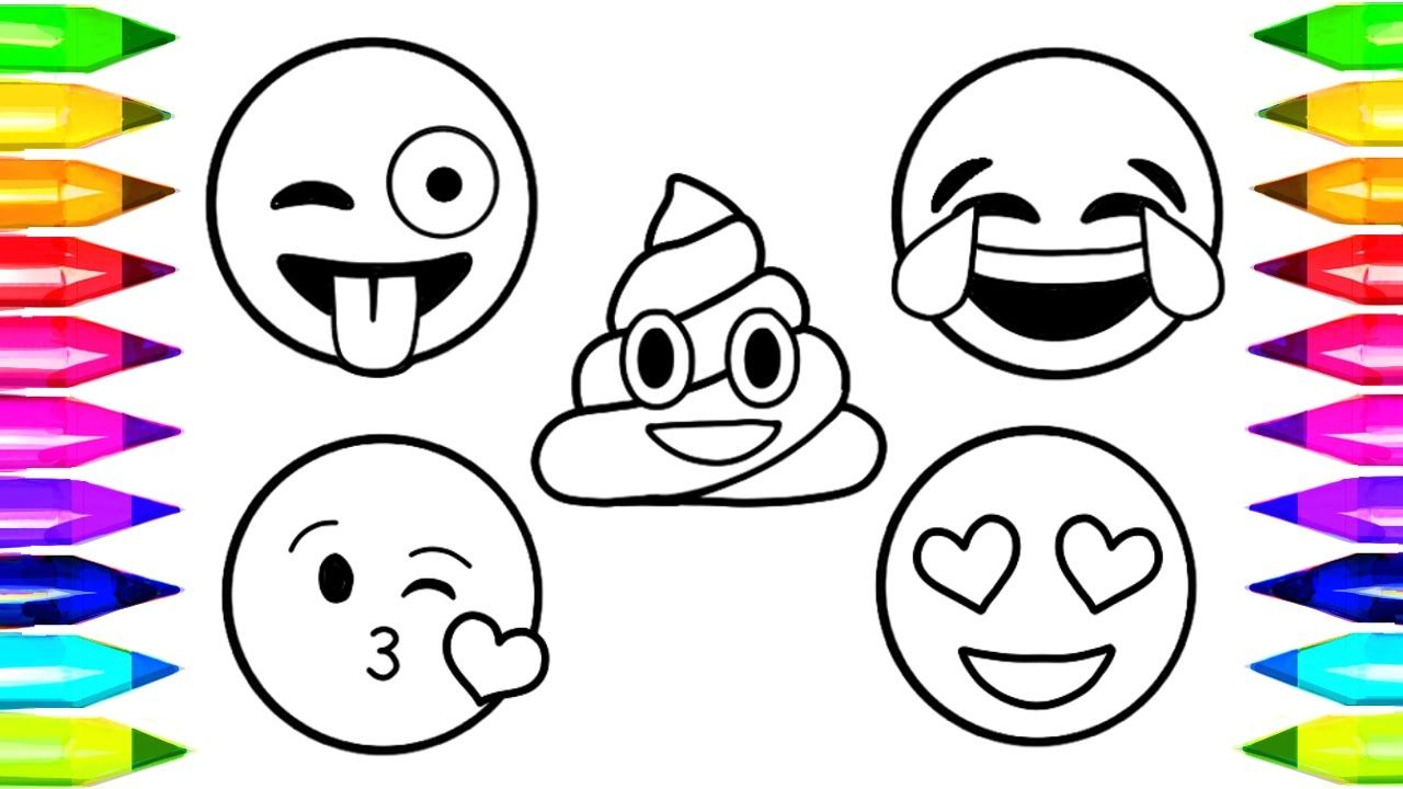 Emoji Coloring Pages How To Draw And Color Emoji Faces Learn Colors Emoji Coloring Pages Coloring Books Coloring Pages