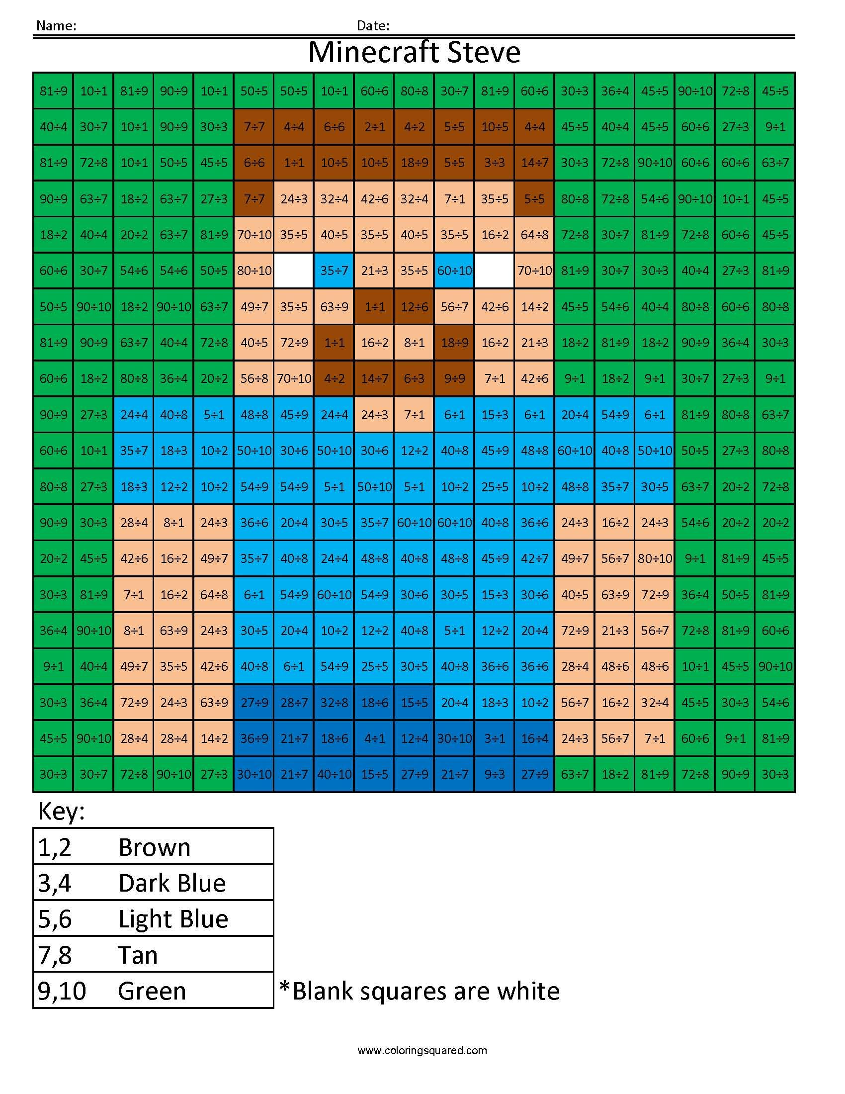 MM8 Minecraft Steve multiplication and division coloring pages Big ...