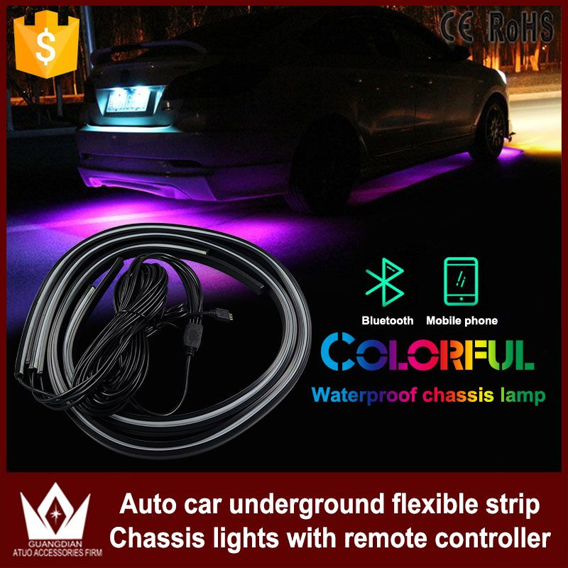 Rgb Led Strip Under Car Tube Underbody Underglow Glow System Neon Light Remote Car Headlight Bulbs(led)