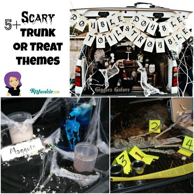 7 Trunk or Treat Ideas featuring SCARY Themes #trunkortreatideasforcarsforchurch