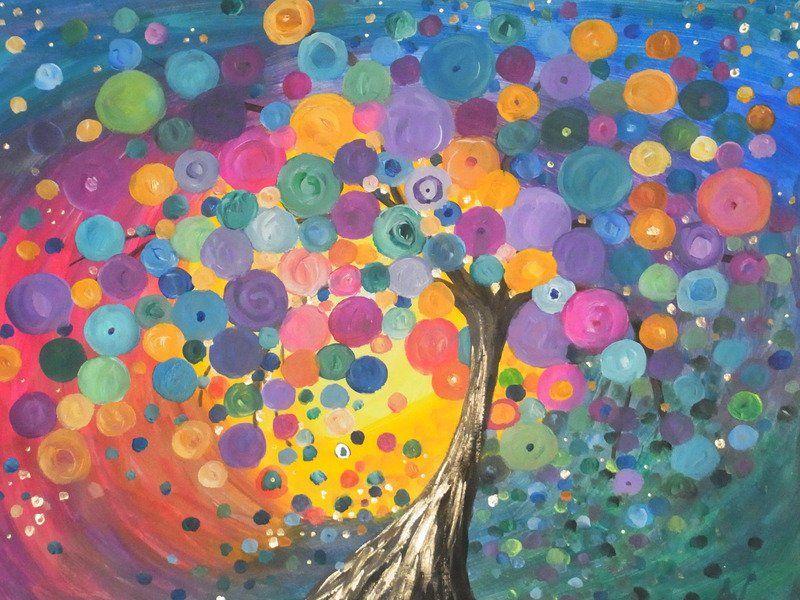 Baum Acryl Kunst Malen Wandschmuck Baum Bunt Abstrakt Original