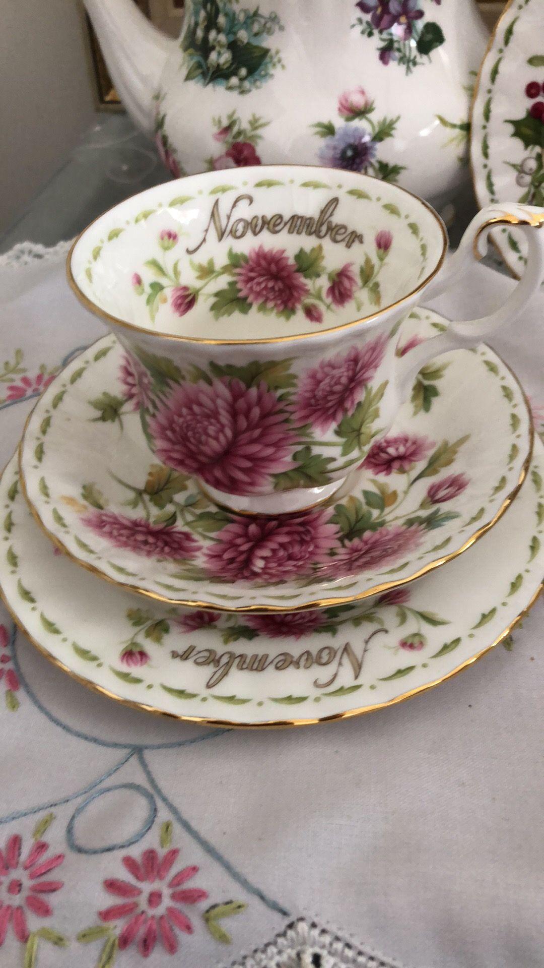 Royal Albert Flowers of the Month November tea trio