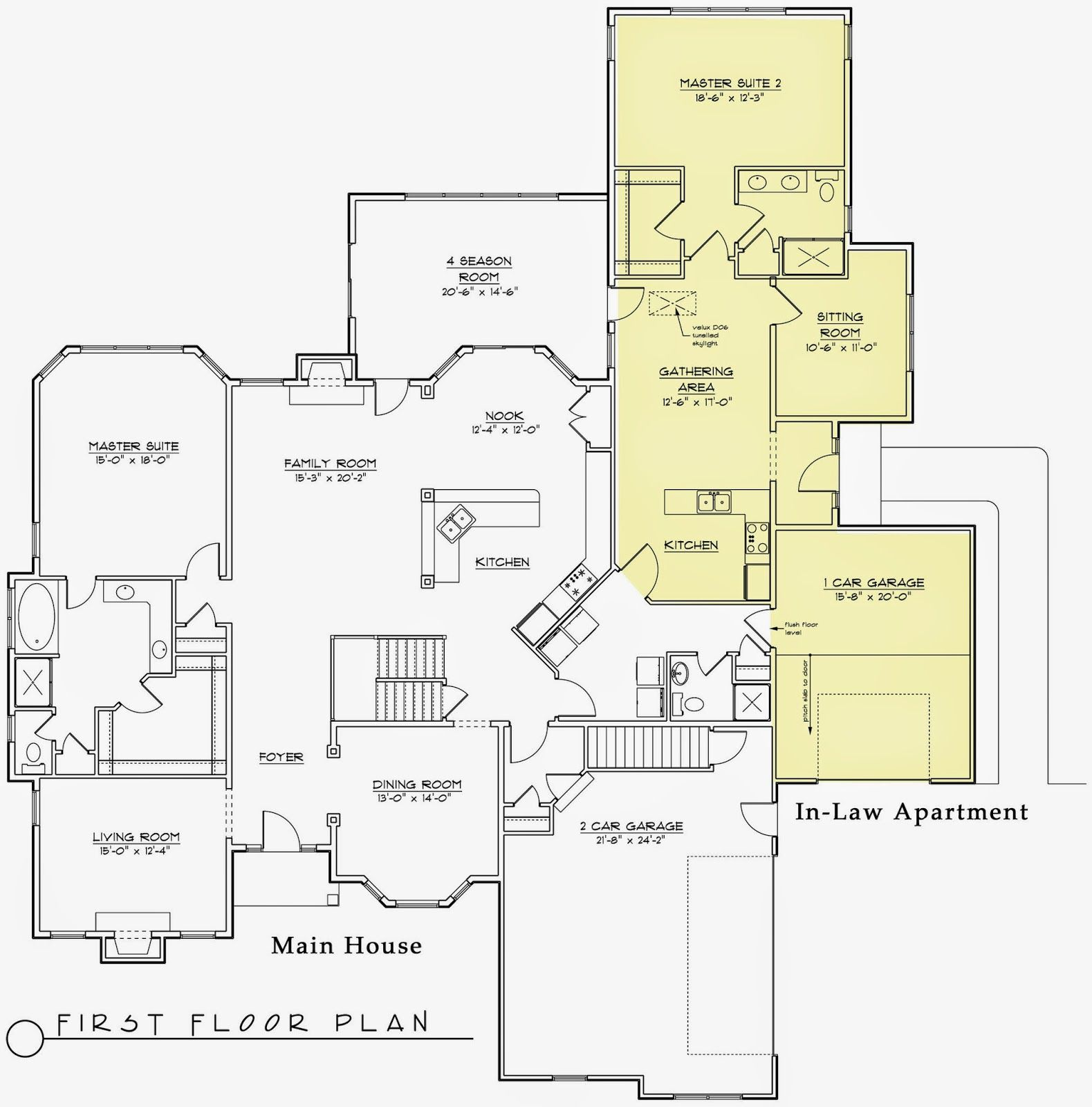 Modern house plans with inlaw suite for House plans with separate kitchen