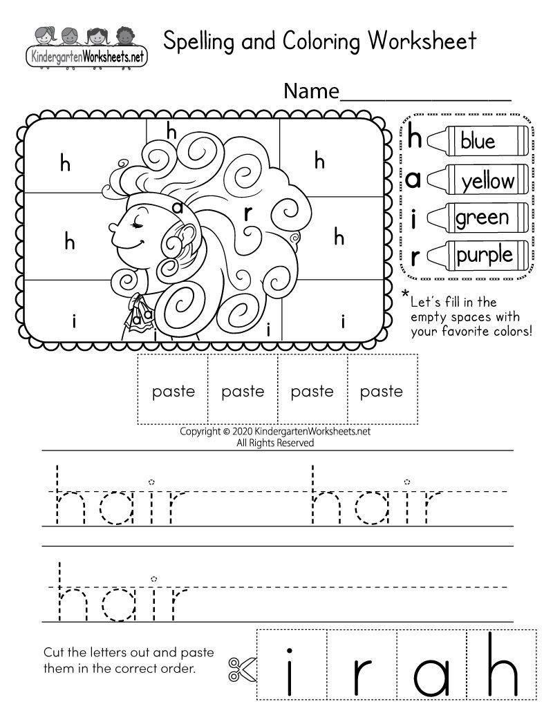 Spelling Worksheets For Kindergarten Lovely Kindergarten Spelling And Coloring Wo In 2020 Spelling Worksheets Kindergarten Worksheets Kindergarten Worksheets Printable [ 1035 x 800 Pixel ]
