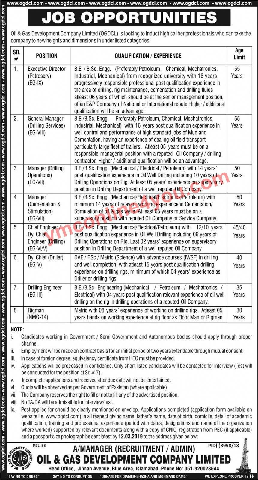 Oil Gas Development Company Limited Ogdcl Jobs 2019 Job Army