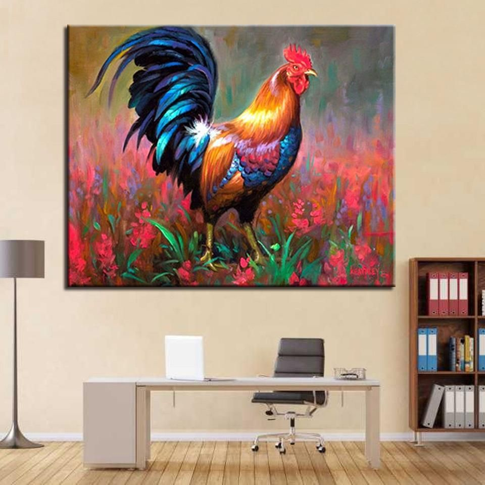 Rooster In A Garden DIY Painting by Numbers Kit