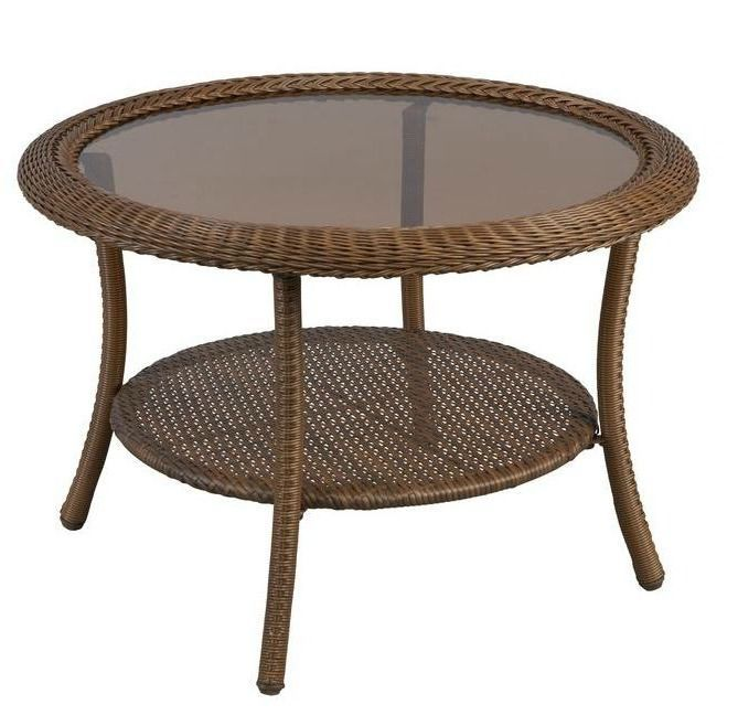 Outdoor Coffee Table Wicker Patio Furniture Round All Weather Resin Garden  Deck #HBC