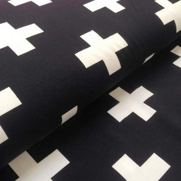 stoff grafische muster jersey kreuze schwarz wei ein designerst ck von oskars stofflieschen. Black Bedroom Furniture Sets. Home Design Ideas