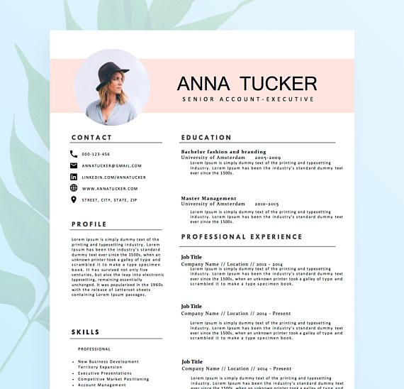 Modern Resume Template  Cv Template Professional And  Extra