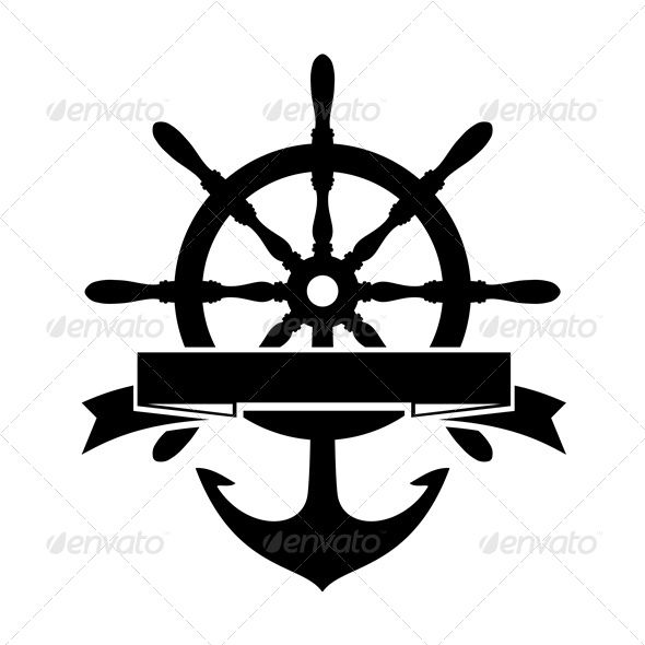 Label With Steering Wheel And Anchor On White Background Editable Eps Render In Jpg Format And Layered Psd Ship Wheel Tattoo Ship Wheel Wheel Tattoo