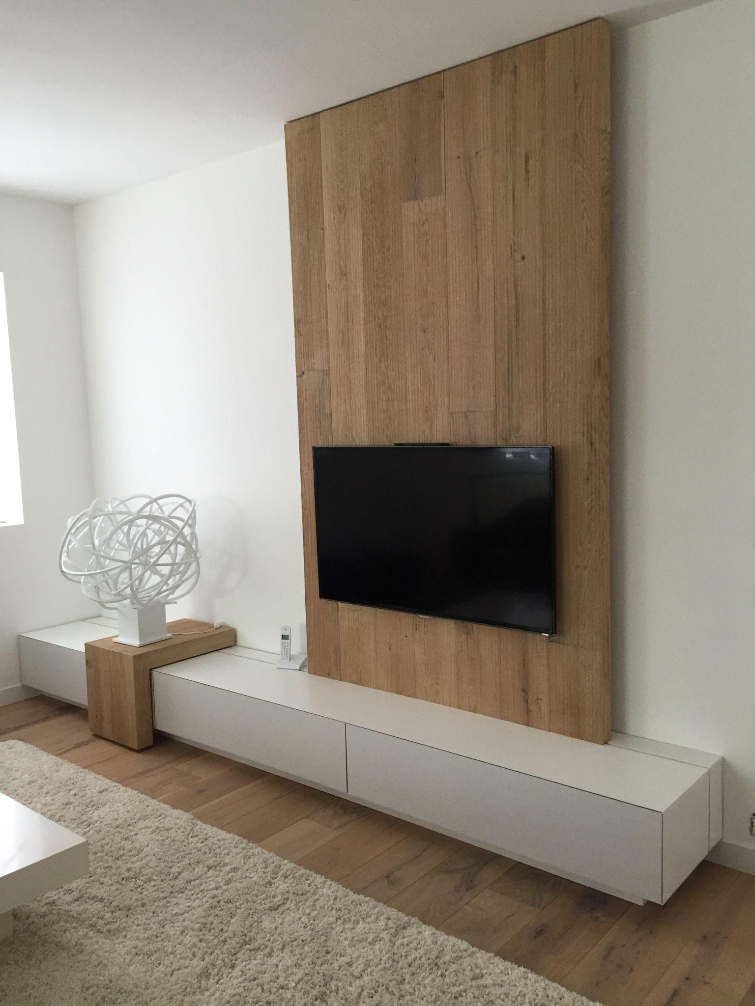 Interior design-ideen wohnzimmer mit tv meuble tv laqué blanc et chêne brossé woodlineconcept