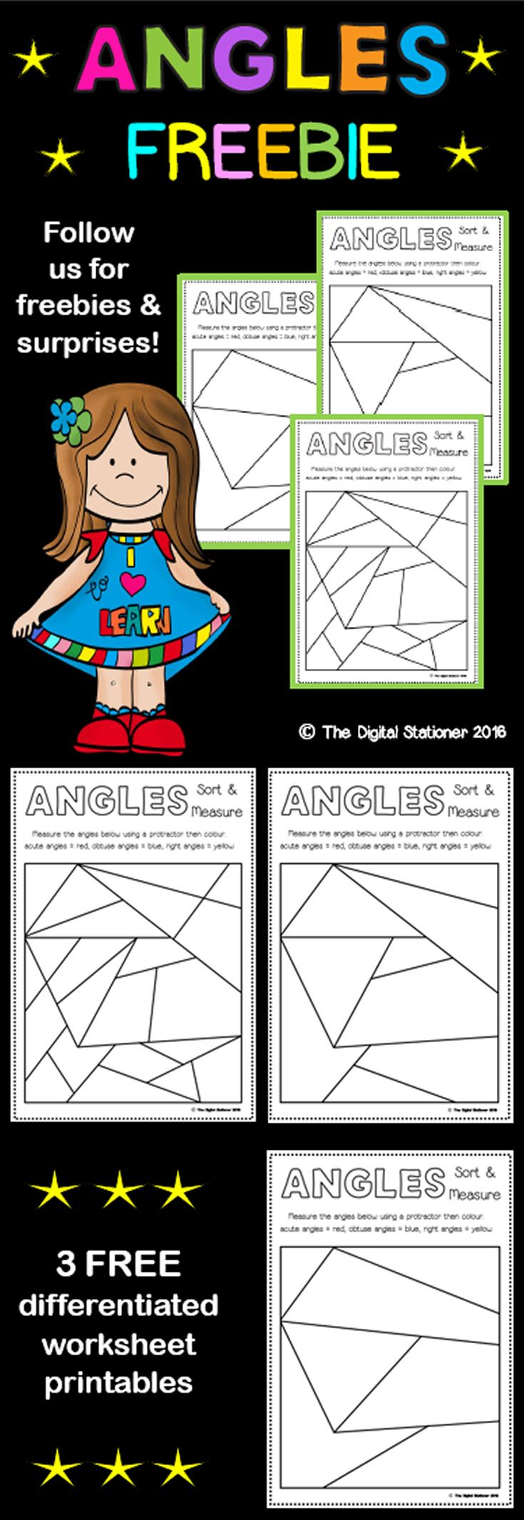 Angles - FREEBIE - Sort and Measure   Angles worksheet [ 2131 x 735 Pixel ]