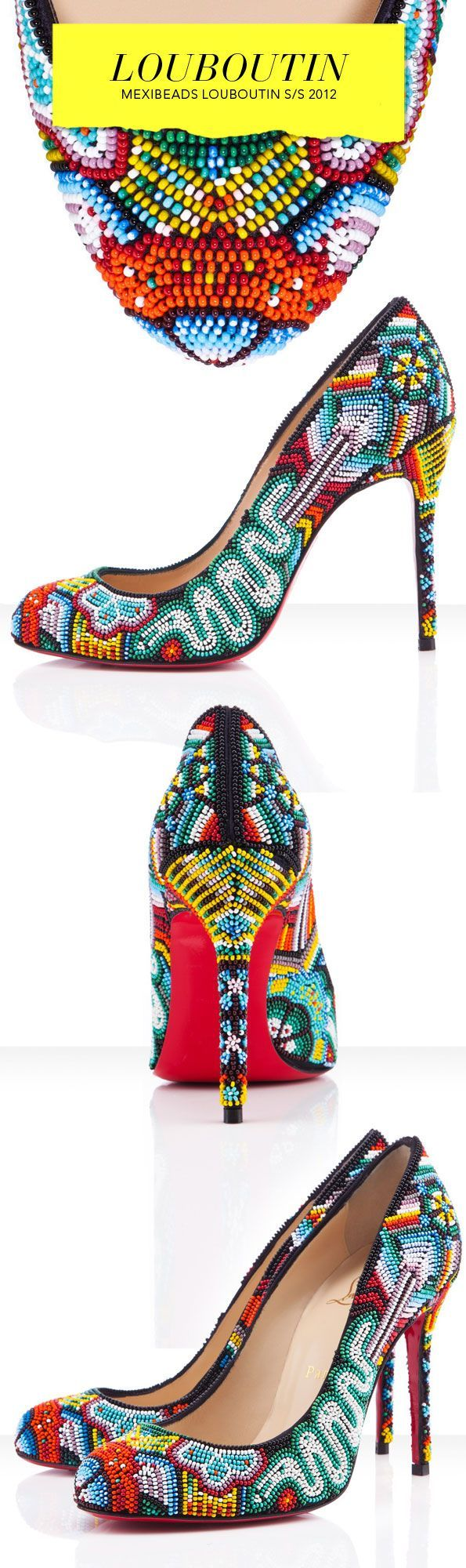 Mexibeads Louboutin: pumps inspired in Huichol art, embroidered with tiny multicolor pearls.