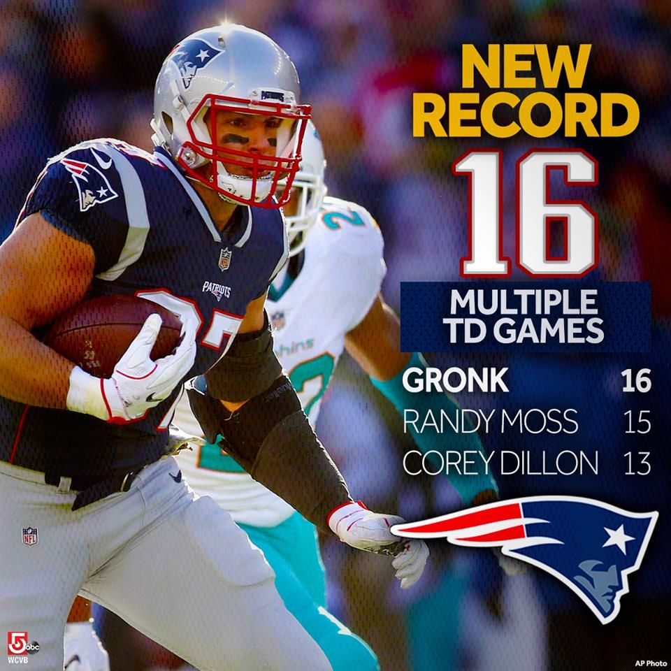 Rob Gronkowski Gronk Just Broke A New England Patriots Team Record Previously Held By Randy Moss Patriots Team New England Patriots Merchandise Gronkowski