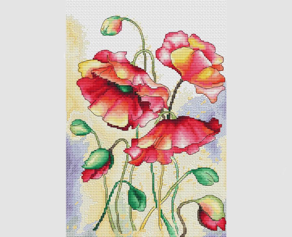 Summer poppies cross stitch pattern poppy cross stitch pattern red flowers cross stitch bright poppies cross stitch pattern poppies #stitching