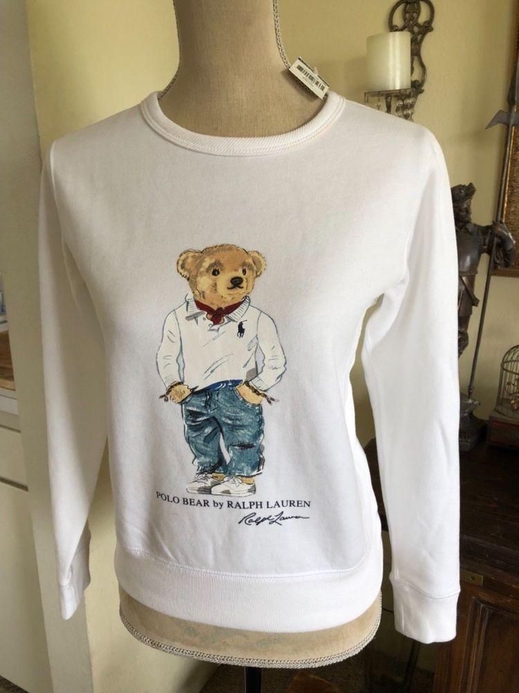 24f5cd933007d NWT Polo Ralph Lauren teddy bear sweatshirt women s white with preppy bear  XS  PoloRalphLauren  Crewneck