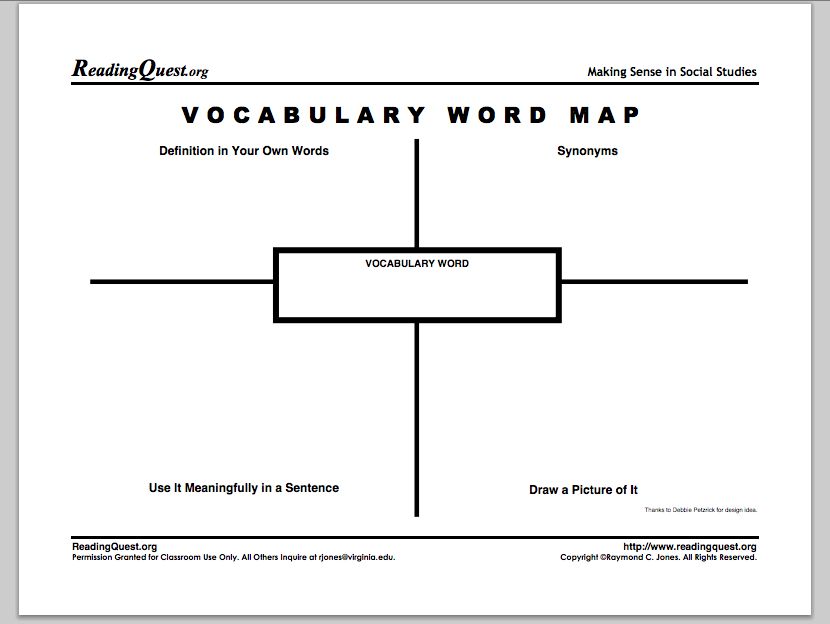 Best Free Vocabulary Graphic Organizers  Word Map Vocabulary