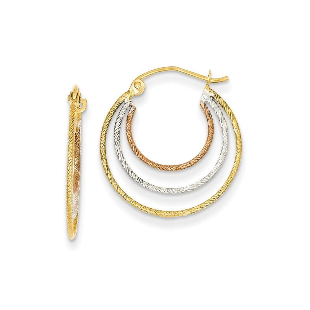 20 x 2MM 10k Solid Yellow Gold Diamond-Cut Twist Hoop Earrings