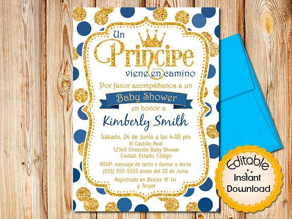 Spanish Prince Baby Shower Invitation Boy