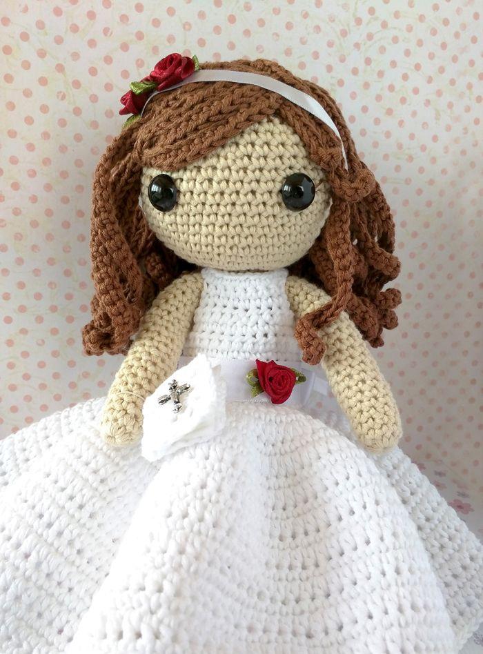 Muñeca de ganchillo Comunión con flores /comunion crochet doll ...