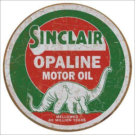 Sinclair Motor Oil Round Tin Metal Sign Vintage Shop Garage Wall Decor Gas  Ad Sinclair Opaline Round Tin Sign Features: Round Tin Sign With Rolled O