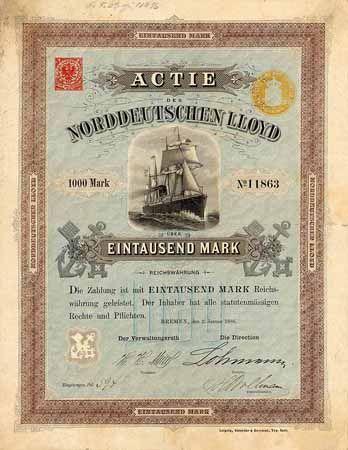 Norddeutscher Lloyd Actie 1.000 Mark 2.1.1886 (Auflage