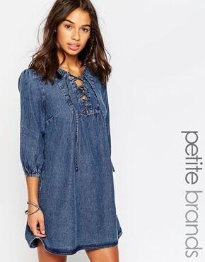 84d4c954189 Boohoo Petite Lisa Smock Style Lace Up Denim Dress