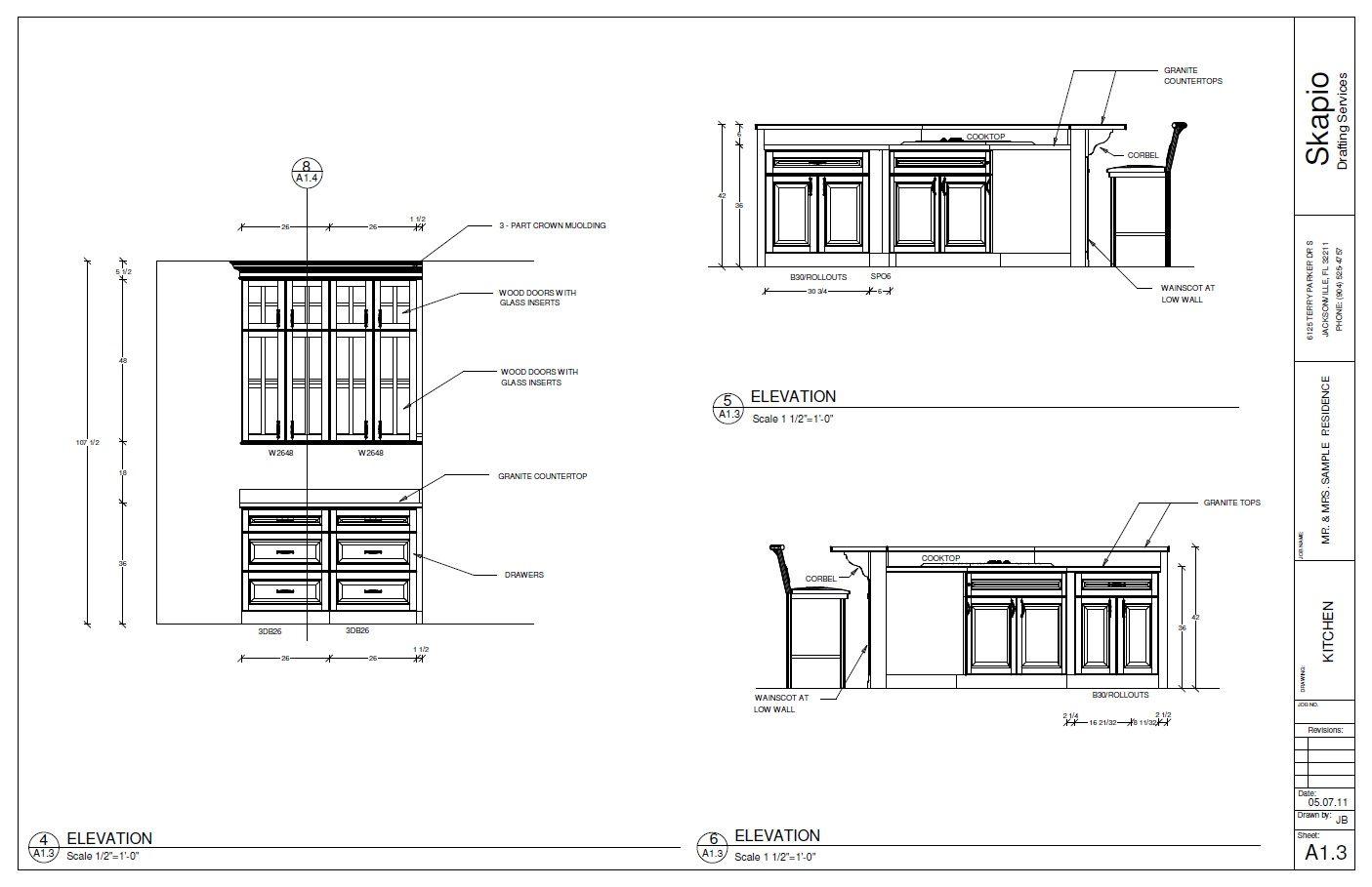 Cadkitchenplans com millwork shop drawings cabinet shop drawings - Sample Kitchen Elevations Floor Planssketches