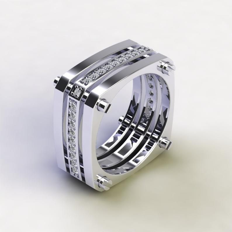 Triostar 925 Sterling Silver Simulated Diamond Studded 14K White Gold Plated Engagement Ring Jewelry